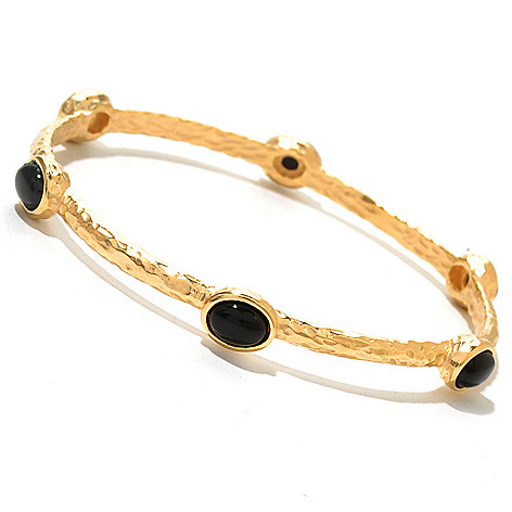129-572 - Toscana Italiana 18K Gold Embraced™ 8'' Gemstone Hammered Station Bangle Bracelet
