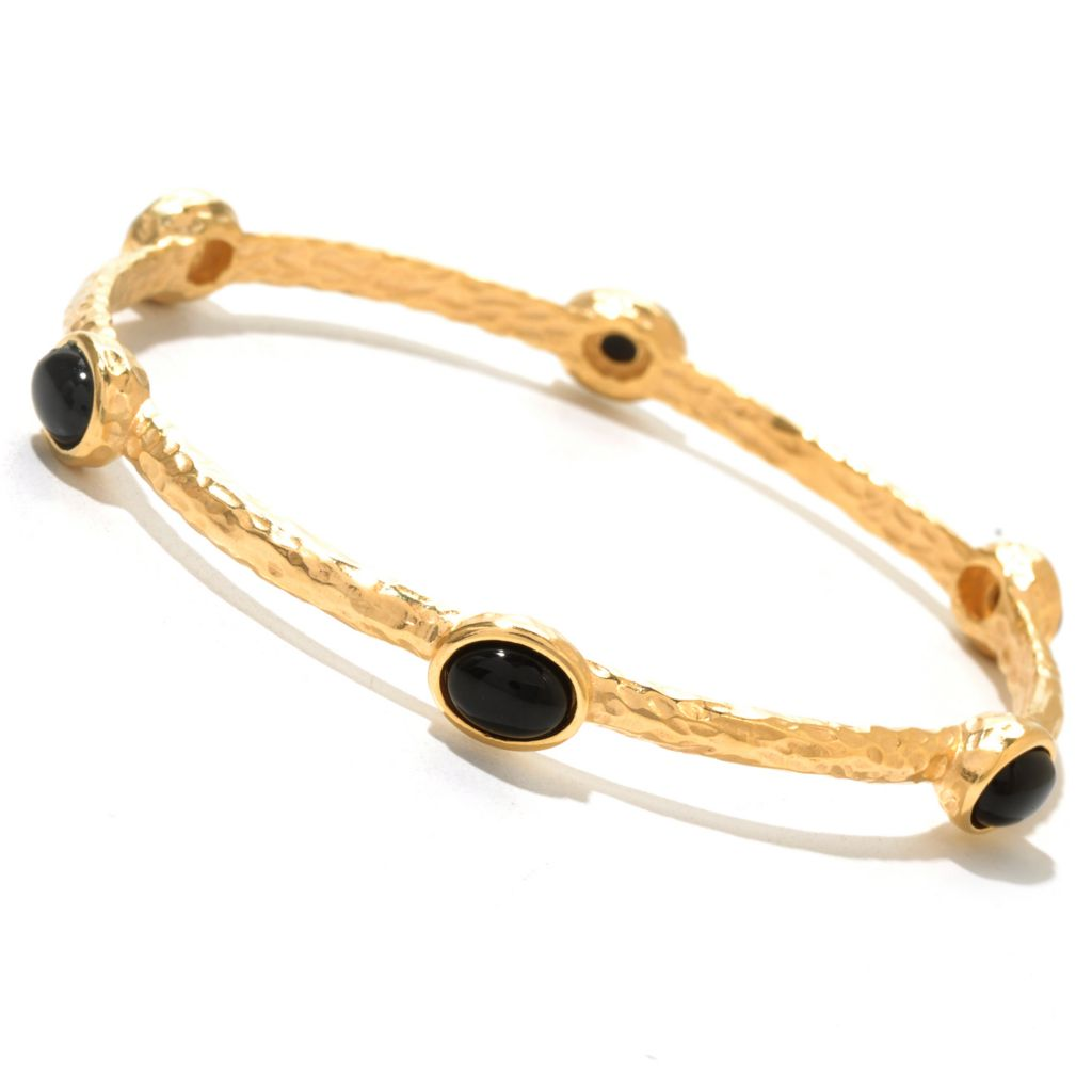 "129-572 - Toscana Italiana 18K Gold Embraced™ 8"" Gemstone Hammered Station Bangle Bracelet"
