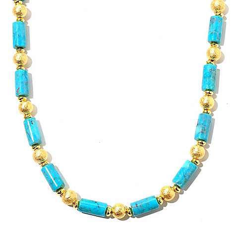 129-575 - Toscana Italiana 18K Gold Embraced™ 22'' Turquoise & Hammered Bead Station Necklace