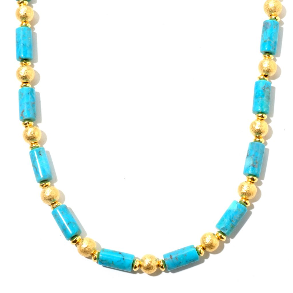 "129-575 - Toscana Italiana 18K Gold Embraced™ 22"" Turquoise & Hammered Bead Station Necklace"