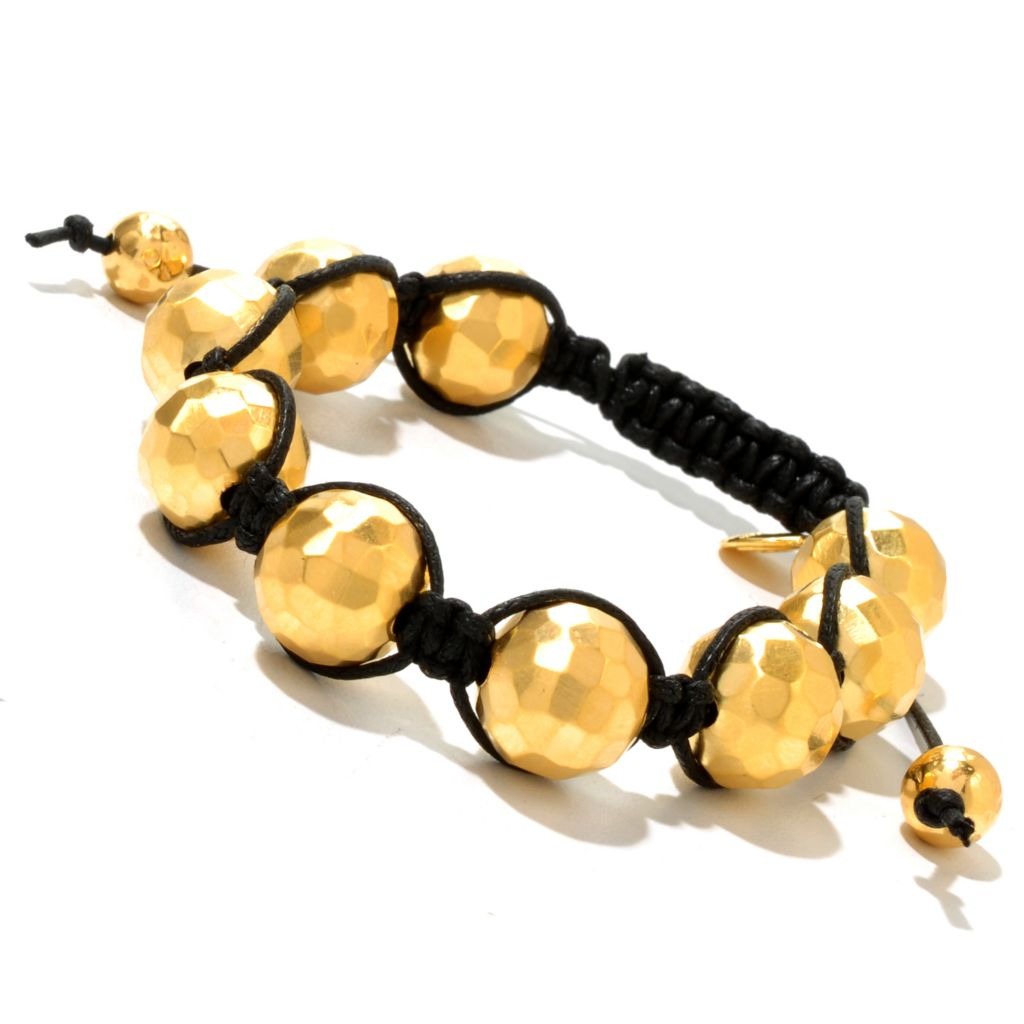 129-576 - Toscana Italiana 18K Gold Embraced™ Adjustable Hammered Bead Cord Bracelet