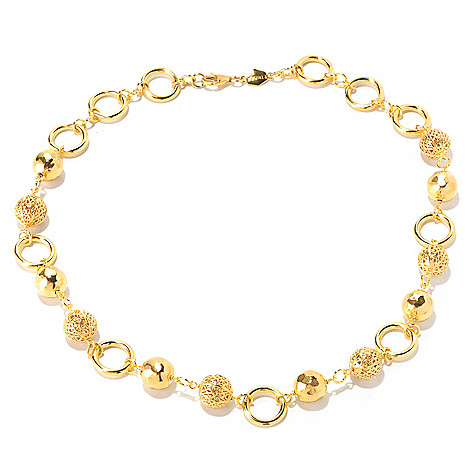 129-579 - Toscana Italiana Gold Embraced™ 20'' High Polished Beaded Station Necklace