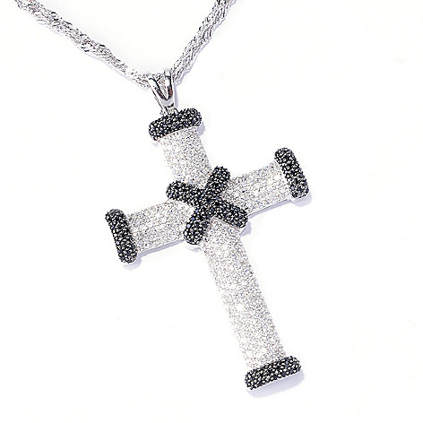129-587 - Gem Treasures Sterling Silver 1.77ctw Zircon & Black Spinel Cross Pendant w/ Chain
