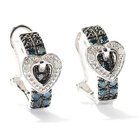 129-590 - Diamond Treasures Sterling Silver 0.25ctw Black & White Diamond Buckle Earrings