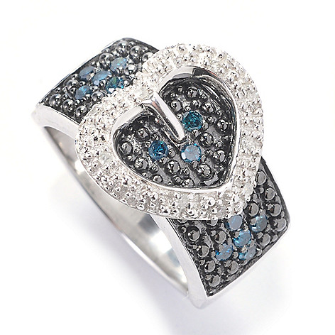 129-591 - Diamond Treasures Sterling Silver 0.25ctw Black & White Diamond Heart Buckle Ring