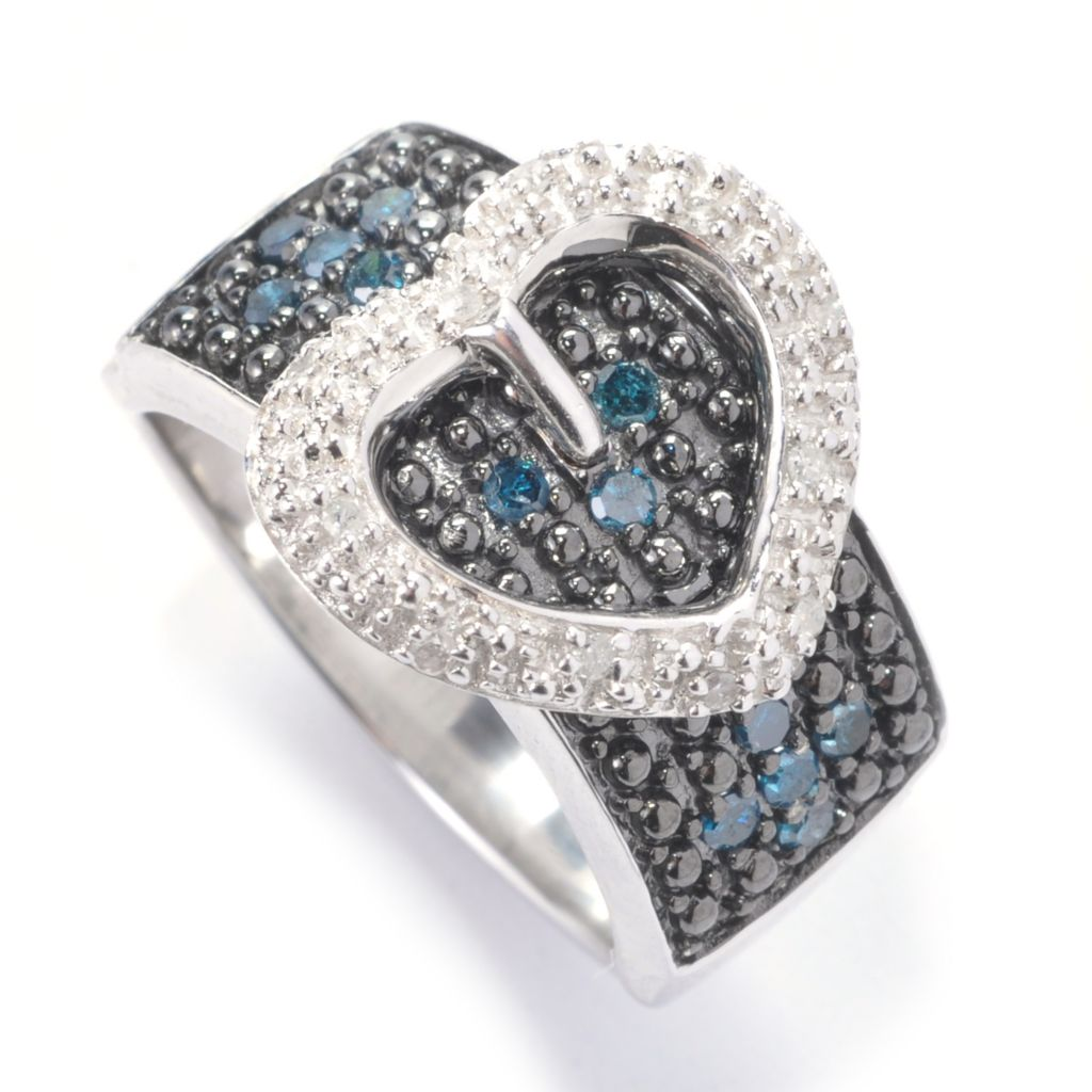 129-591 - Diamond Treasures Sterling Silver 0.25ctw Multi Color Diamond Heart Buckle Ring