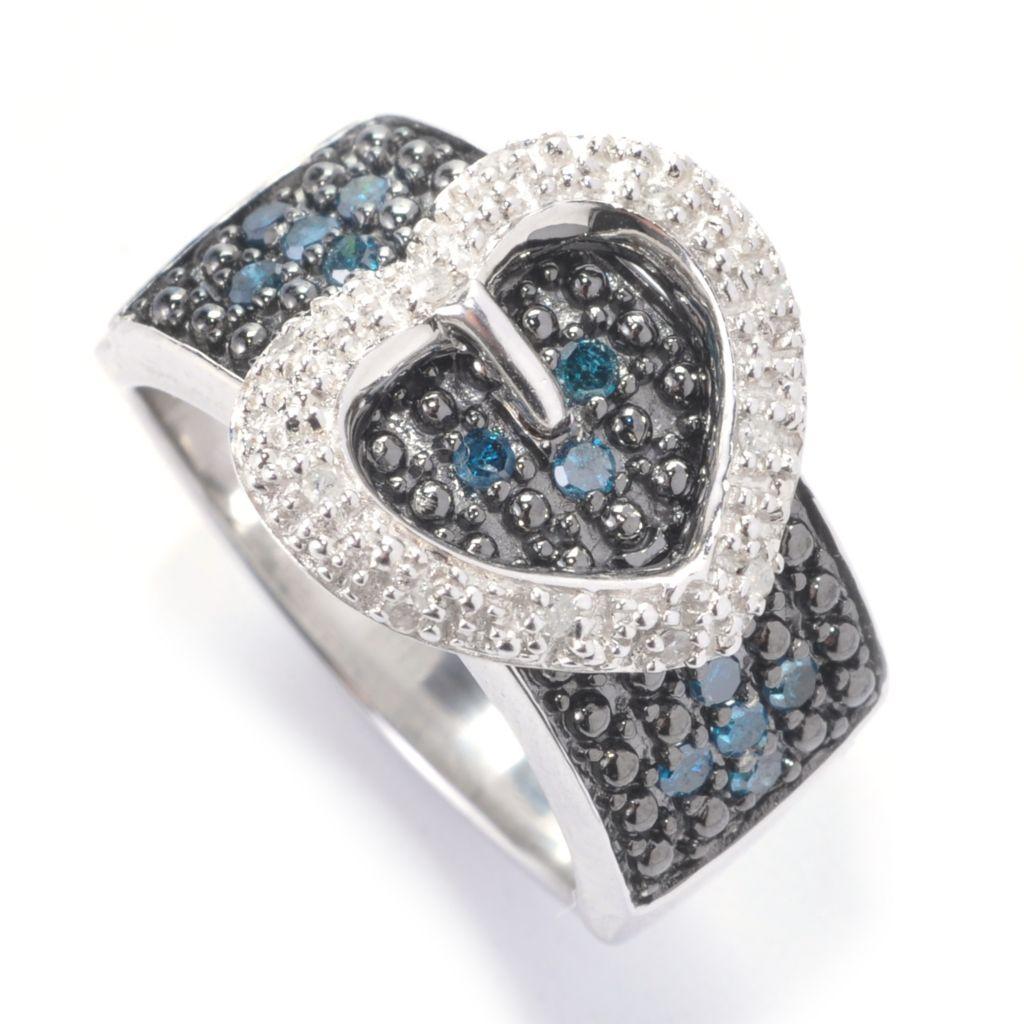 129-591 - Diamond Treasures Sterling Silver 0.25ctw Multi Color Diamond Heart Buckle Ring