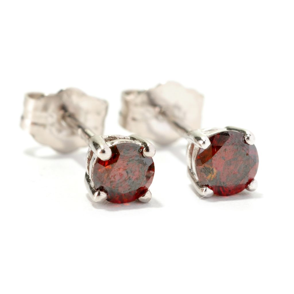 129-592 - Diamond Treasures Sterling Silver 0.40ctw Round Cut Red Diamond Stud Earrings