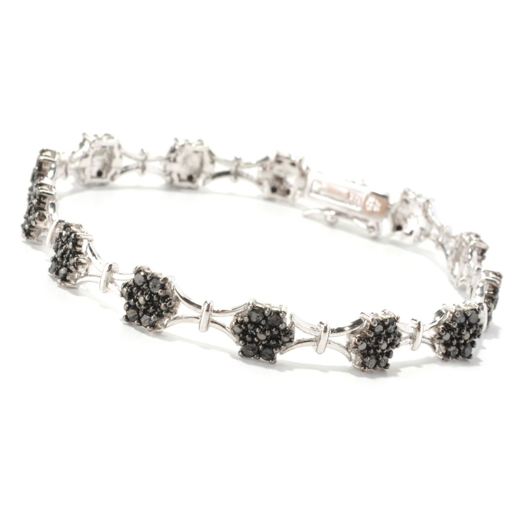 "129-595 - Diamond Treasures Sterling Silver 7.5"" Black Diamond Square Link Bracelet"
