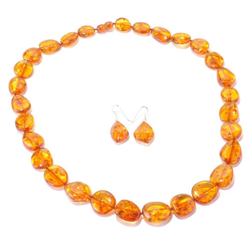 "129-597 - Gem Insider Sterling Silver Colored Amber Earrings & 24"" Necklace Set"