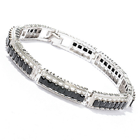 129-618 - Gem Treasures Sterling Silver 7.25'' Princess Cut Black Spinel Bracelet