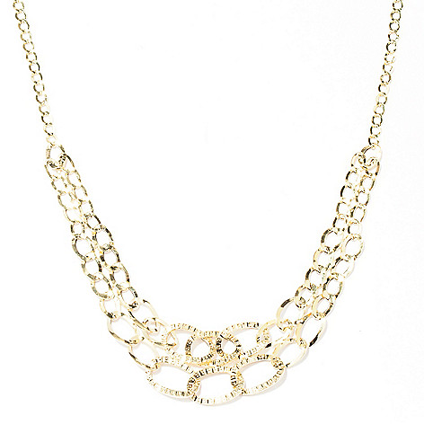 129-646 - Italian Designs with Stefano 14K 18'' Graduated Cascade Necklace, 3.23 grams