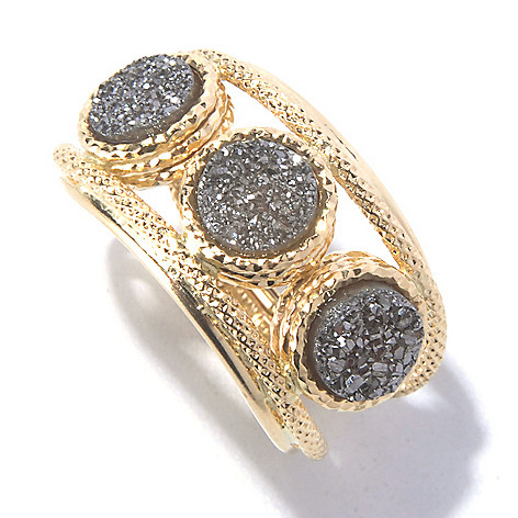 129-649 - Italian Designs with Stefano 14K Gold 6mm Triple Drusy Textured Ring
