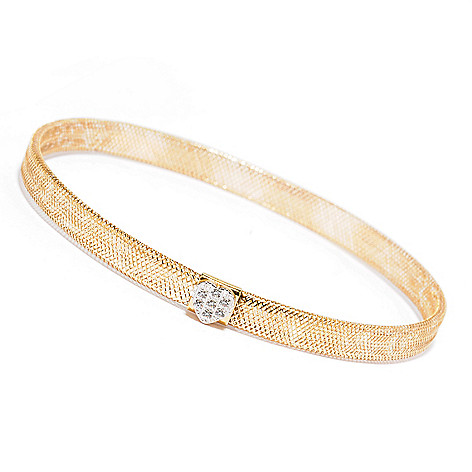 129-660 - Italian Designs with Stefano 14K Gold Heart Stretch Bracelet, 1.14 grams