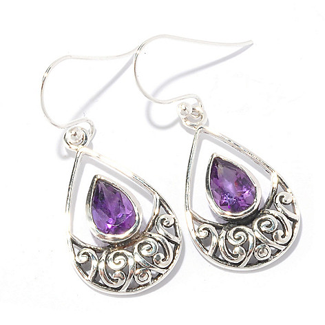 129-675 - Artisan Silver by Samuel B. Gemstone Teardrop Shaped Earrings