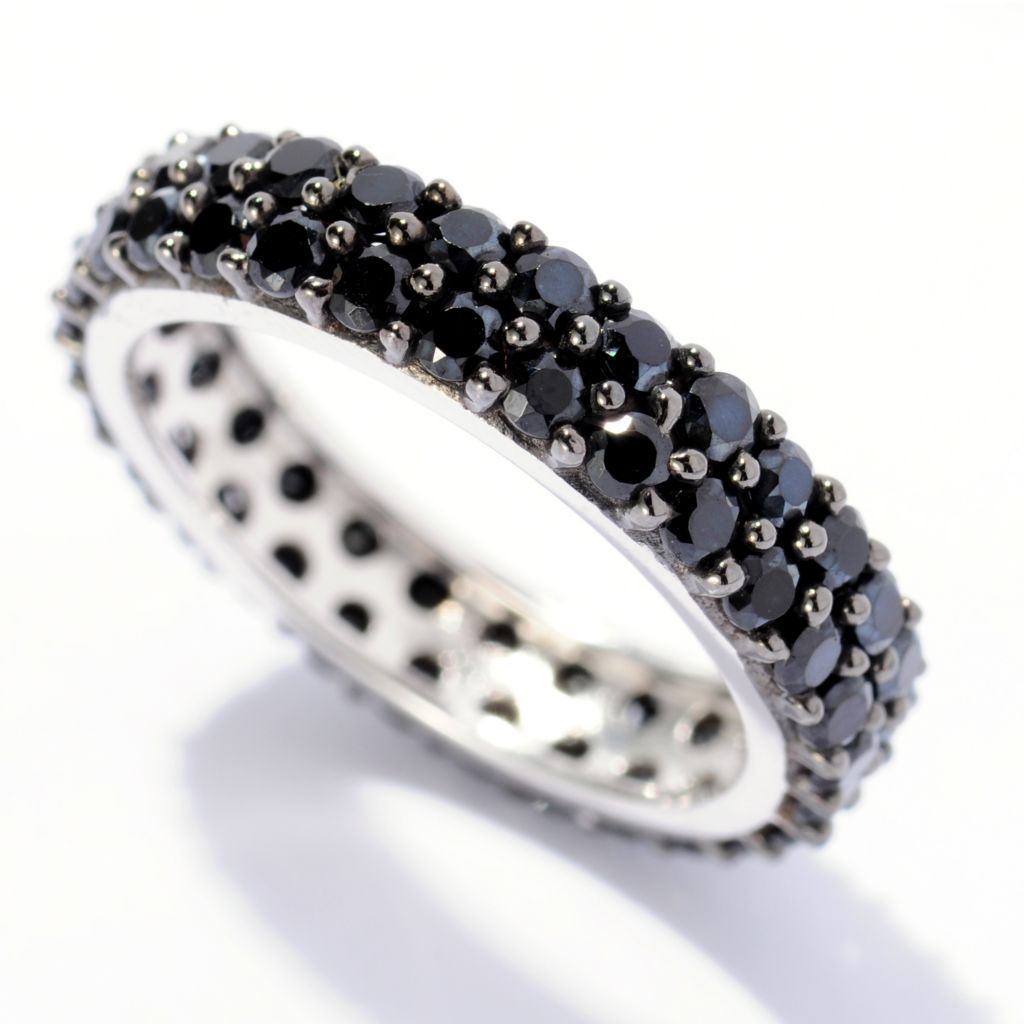 129-688 - Gem Treasures Sterling Silver 2.50ctw Black Spinel Two-row Ring