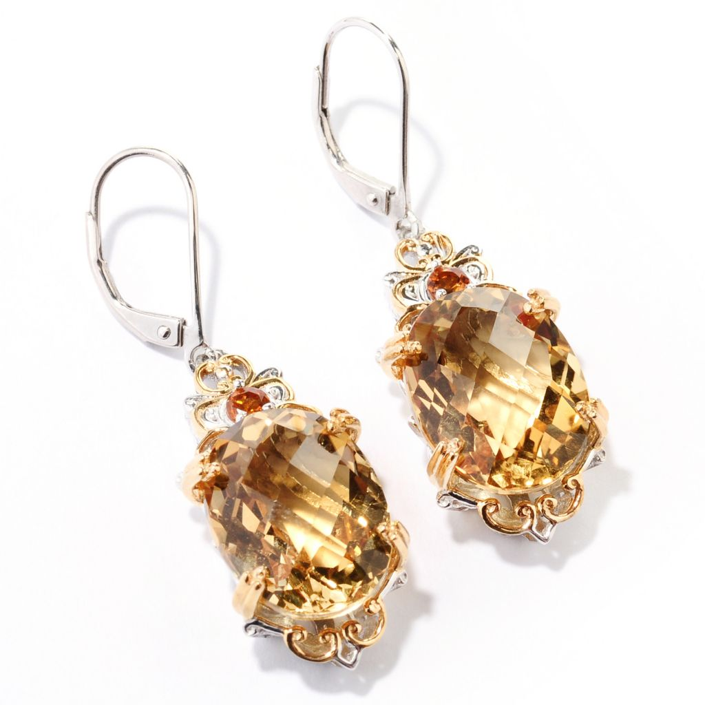 129-712 - Gems en Vogue 17.90ctw Zambian & Madeira Citrine Drop Earrings