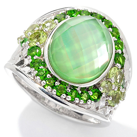 129-728 - Gem Insider Sterling Silver 12 x 10mm Quartz Doublet & Multi Gemstone Ring