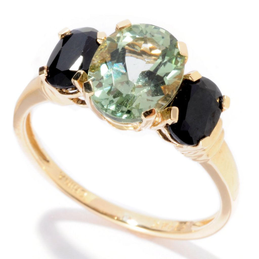 129-730 - Gem Insider 14K Gold 2.52ctw Apatite & Black Sapphire Three-Stone Ring