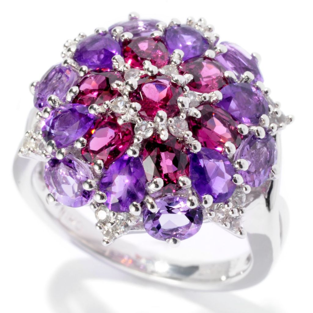 129-733 - Gem Insider Sterling Silver 2.74ctw Multi Gemstone Flower Ring
