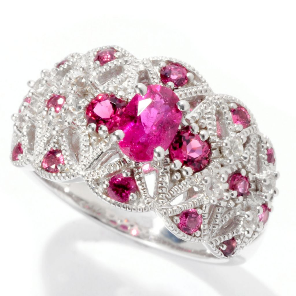 129-736 - Gem Insider Sterling Silver Rubellite & White Sapphire Beaded Ring