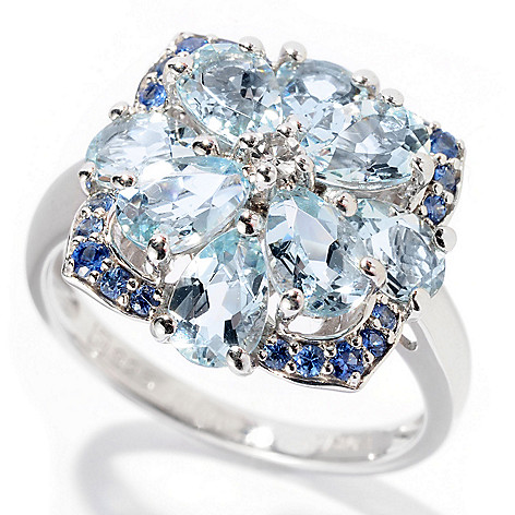 129-739 - Gem Treasures Sterling Silver 2.47ctw Aquamarine & Sapphire Square Flower Ring