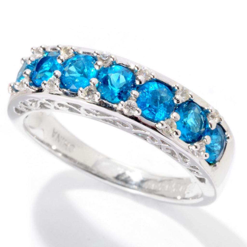 129-740 - Gem Insider Sterling Silver 1.06ctw Neon Blue Apatite & White Sapphire Band Ring