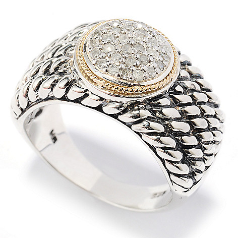 129-753 - Sterling Artistry by EFFY Two-tone 0.14ctw Diamond Rope Ring