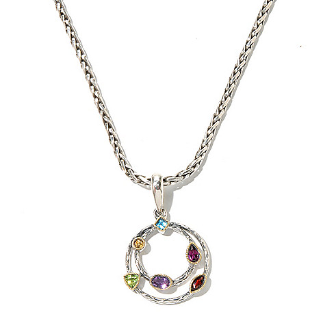 129-763 - Sterling Artistry by Effy 1.02ctw Multi Gemstone Double Eternity Pendant w/ Chain