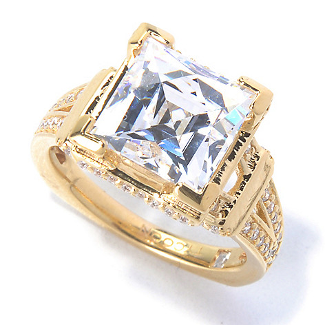 129-768 - TYCOON 4.60 DEW Square Cut Simulated Diamond Eiffel Tower Split Shank Ring