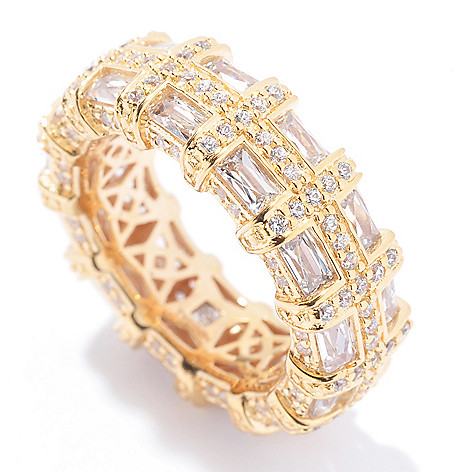 129-769 - TYCOON 3.87 DEW Rectangle & Round Simulated Diamond Eternity Band Ring