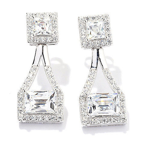 129-775 - TYCOON 3.60 DEW Platinum Embraced™ Simulated Diamond Halo Drop Earrings