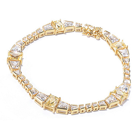129-778 - TYCOON 18K Gold Embraced™ Simulated Diamond White & Yellow Line Bracelet