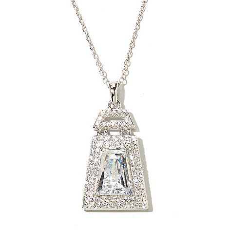 129-780 - TYCOON 3.35 DEW Platinum Embraced™ Simulated Diamond Halo Pendant