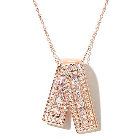129-781 - TYCOON 2.57 DEW Rectangle Pave Set Simulated Diamond Ribbon Pendant