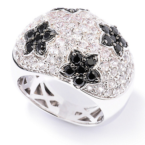 129-789 - Gem Insider Sterling Silver 2.38ctw White Topaz & Spinel Flower Dome Ring