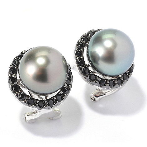129-797 - Sterling Silver 9-10mm Black Tahitian Cultured Pearl & Spinel Halo Earrings