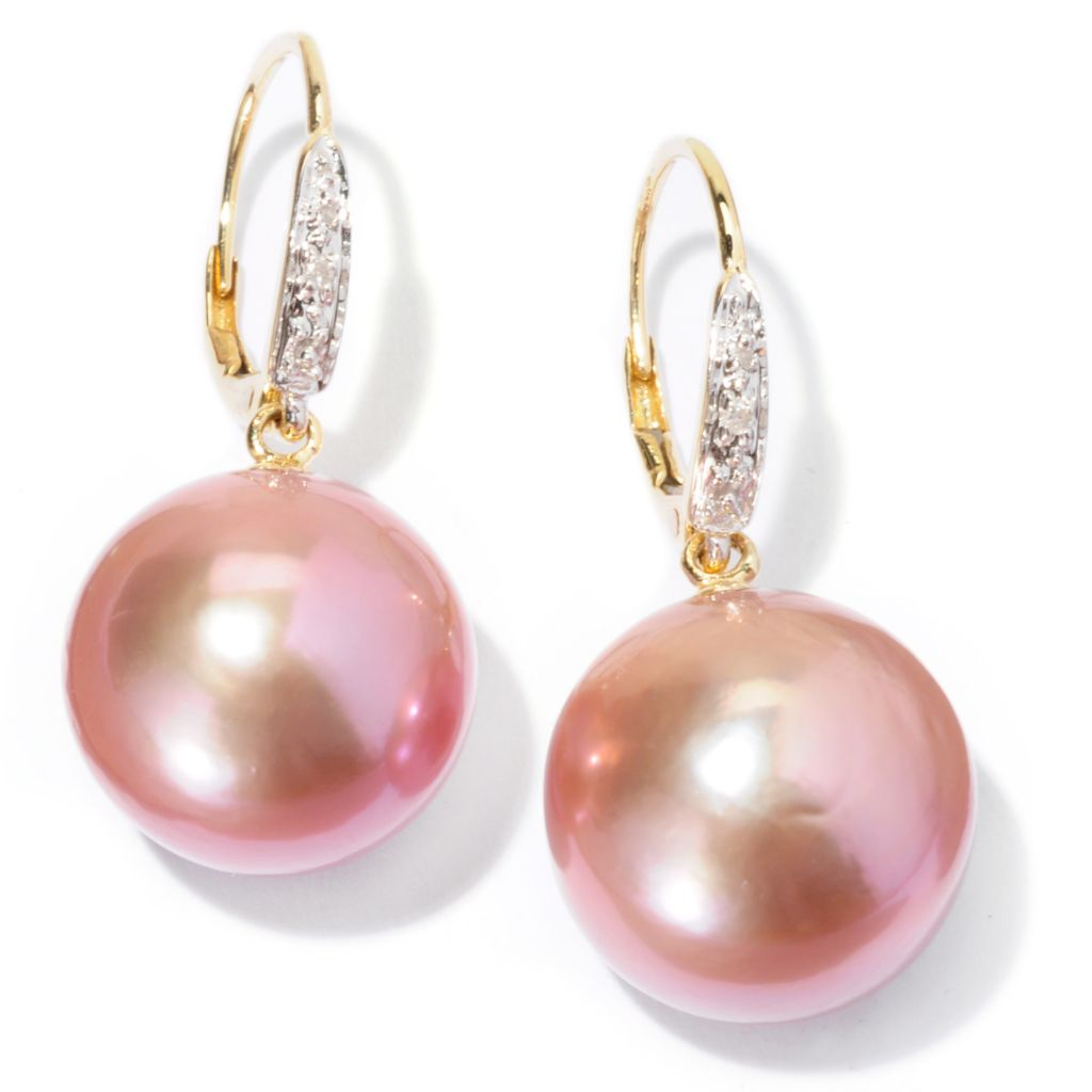 129-806 - 14K Gold 12-13mm Pink Edison Freshwater Cultured Pearl & Diamond Earrings