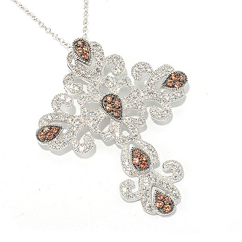 129-810 - Gem Treasures Sterling Silver 3.40ctw Zircon & Topaz Scroll Cross Pendant w/ Chain