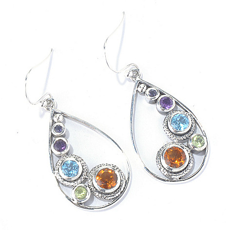 129-822 - Artisan Silver by Samuel B. 2.13ctw Multi Gemstone Teardrop Earrings