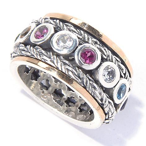 129-823 - Artisan Silver by Samuel B. 1.80ctw Multi Gemstone Spinner Ring