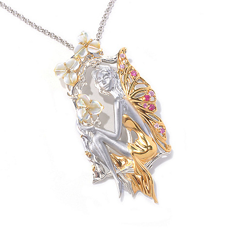 129-826 - Gems en Vogue II Mother-of-Pearl, Ruby & Pink Sapphire Fairy Pendant w/ Chain