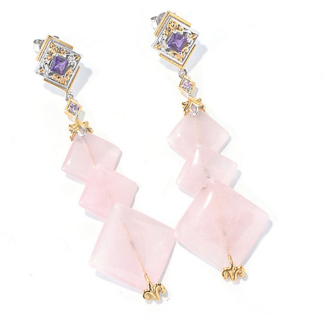 129-828 - Gems en Vogue II Rose Quartz, Amethyst & Pink Sapphire Drop Earrings