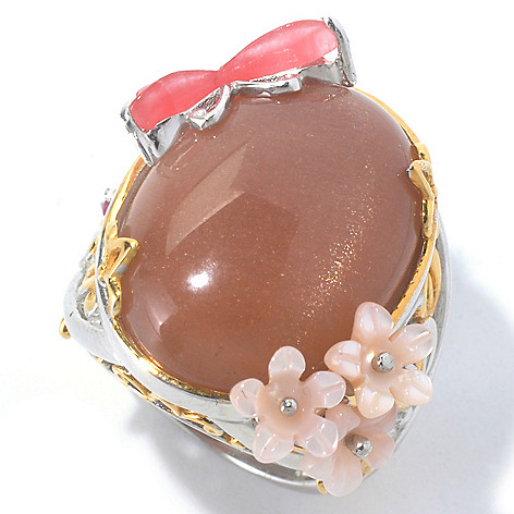 129-830 - Gems en Vogue II Peach Moonstone & Multi Gemstone Carved Flowers & Butterfly Ring