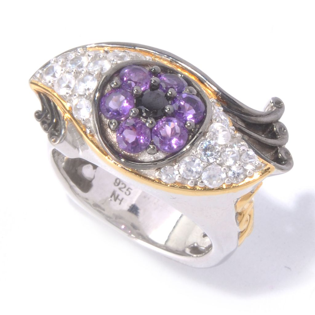129-836 - Gems en Vogue II 1.49ctw Amethyst, White Zircon & Black Spinel Eye Ring