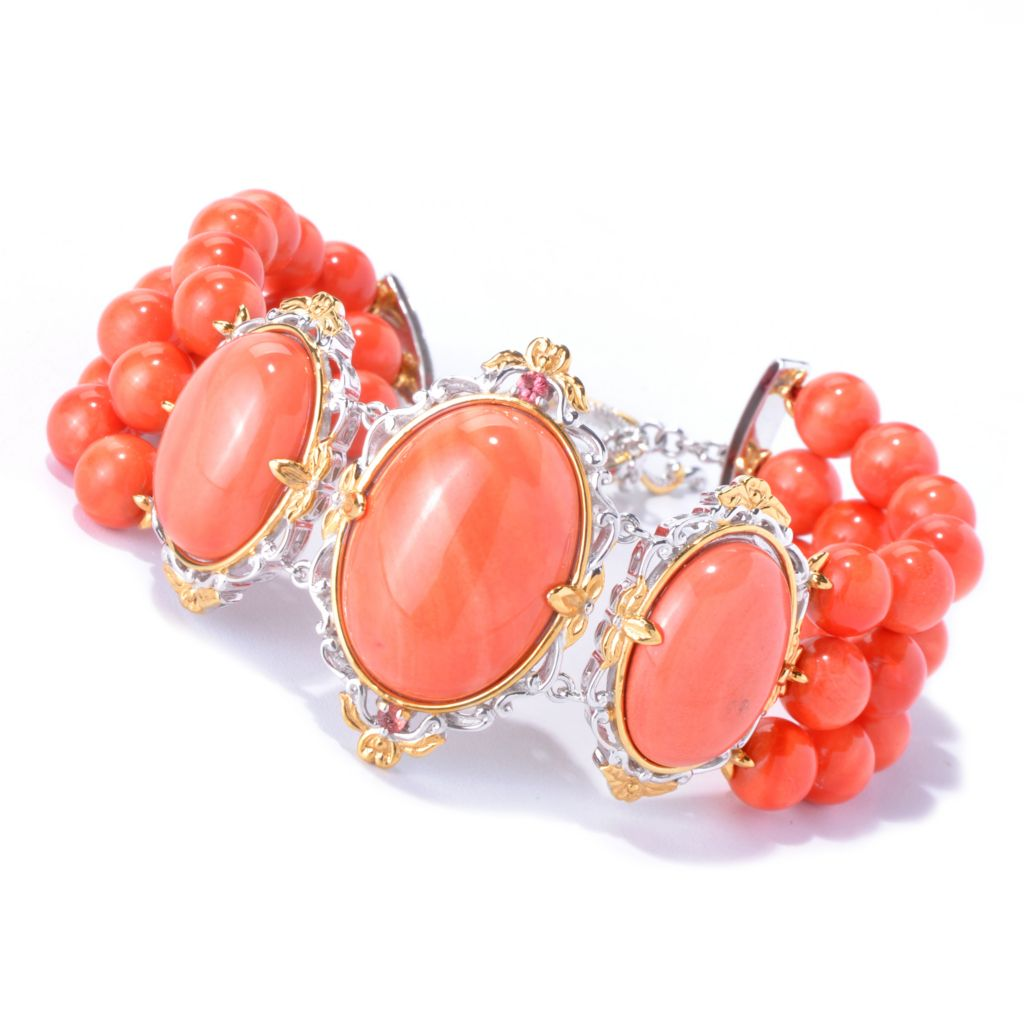 129-838 - Gems en Vogue II Bamboo Coral & Orange Sapphire Beaded Three-Row Toggle Bracelet