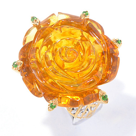 129-840 - Gems en Vogue II 25mm Carved Amber Rose & Chrome Diopside Ring