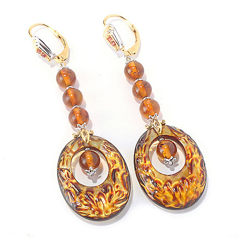 129-844 - Gems en Vogue II Carved Amber Filigree, Amber Bead & Orange Sapphire Earrings