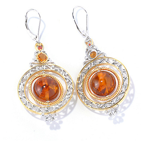 129-845 - Gems en Vogue II  2.25'' Amber Bead, Madeira Citrine & Orange Sapphire Drop Earrings
