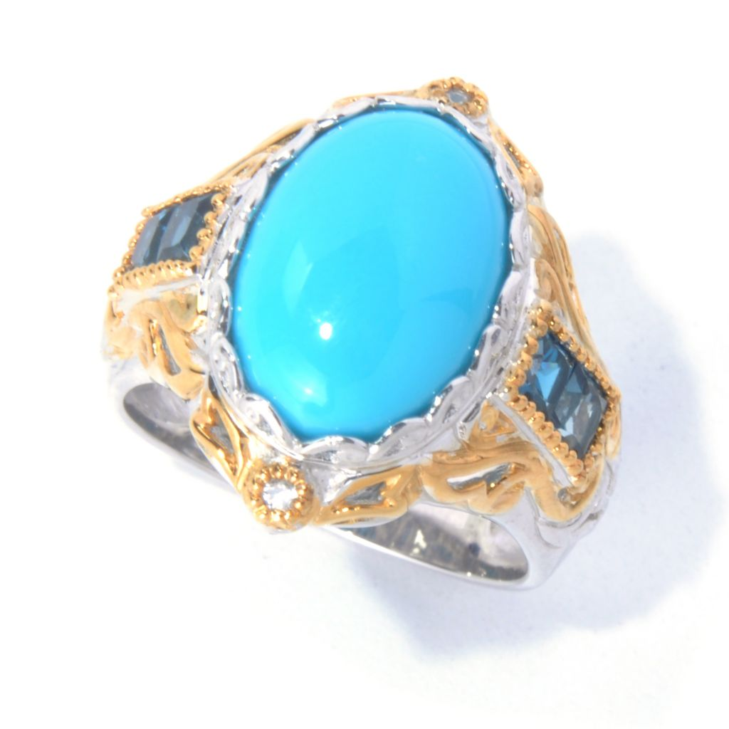 129-847 - Gems en Vogue II Sleeping Beauty Turquoise, London Blue Topaz & White Sapphire Ring
